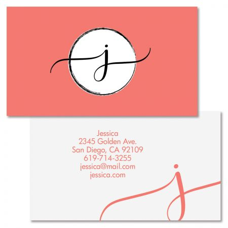 Modern Monogram Double Sided Business Card