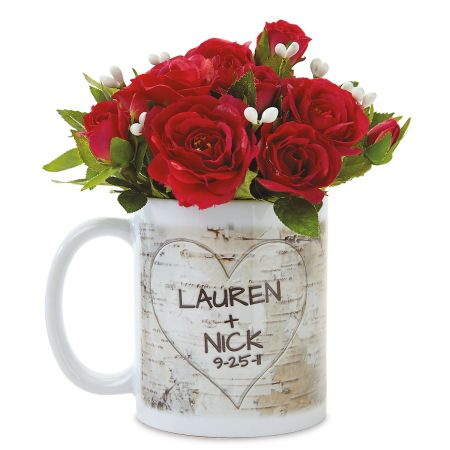 Carved Initials in Heart Design Personalized Mug