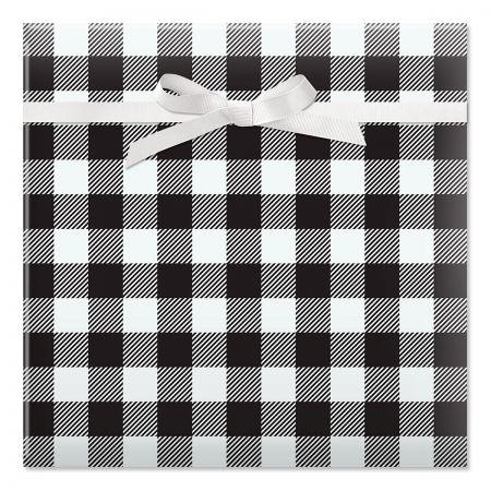 Black & White Plaid Jumbo Rolled Gift Wrap
