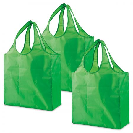 Reusable Shopping Bags Eco-friendly polyester bags eliminate the waste of single-use plastic and paper bags. At 7 1/4 x 16  and 26 H, they hold plenty of belongings but fold away neatly for travel. Set of 3