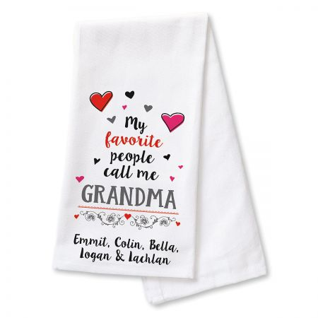 My Favorite People Kitchen Towel - 7 Names A heartwarming gift for  Mom,  Nana,  Mimi, 100% cotton towel is machine wash/dry; 18 x 27 . Specify line 1 (recipient's name) up to 7 characters, plus 1 to 7 additional names (of child/ren) up to 7 characters each.