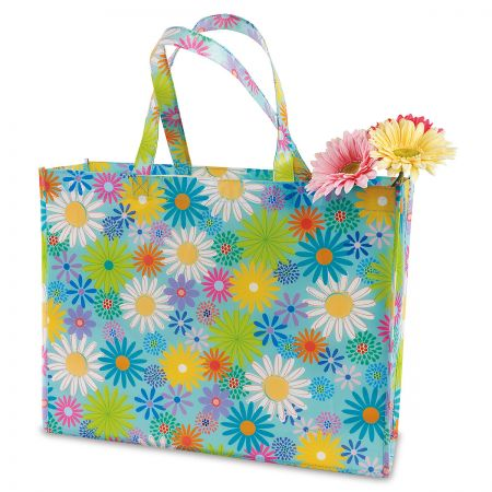 Daisies Parade Shopping Tote - BOGO Get 2 for the price of 1! Durable, non-woven fabric tote is 13 H x 16 W x 5 D. Great for holiday shopping, they also make handy, reusable gift bags for large or oddly shaped gifts. Contents not included.