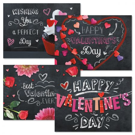 Bright on Black Valentines Day Cards