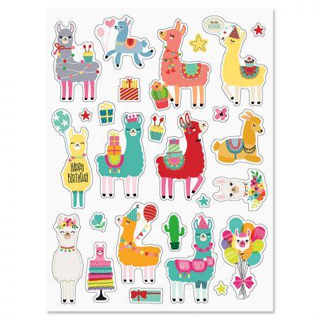 Llama Birthday Stickers