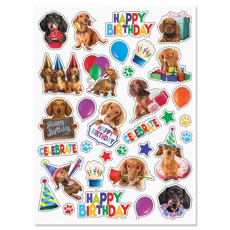 Dachshund Birthday Stickers