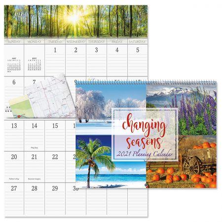 2021 Changing Seasons Big Grid Calendar with Pockets