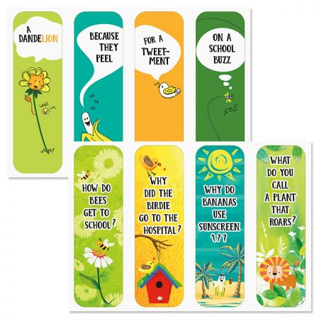 Diecut Kids Jokes Bookmarks HAVE A LAUGH! What's more fun than reading? Bookmarks printed with jokes! Making them laugh keeps it interesting. 7 x 2 1/8 . Set of 8