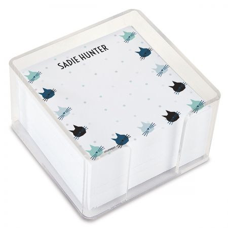 Cat Pattern Personalized Note Sheets in a Cube
