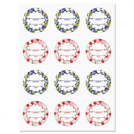 Summer Berries Canning Labels Perfect for keeping your canned foods organized with names, dates and ingredients. 2  diameter. Set of 24