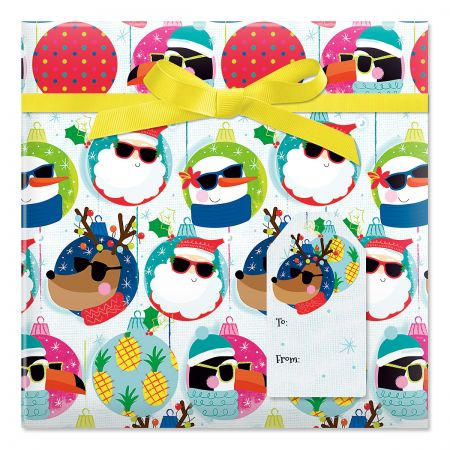 Cool Characters Jumbo Rolled Gift Wrap and Labels