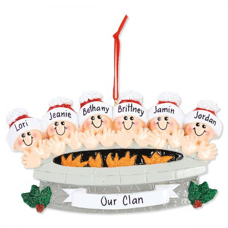 Fire Pit Family Hand-Lettered Christmas Ornament