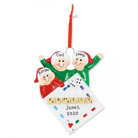 3 Names Family Game Night Ornament Fun personalized Christmas ornaments are made of resin, hand-lettered with your personalization, and comes with hanging ribbons or strings. 3 1/2-5 H. Specify up to 16 characters for family name, 4-digit year and 3-5 names up to 8 characters each.