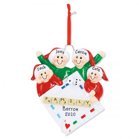 4 Names Family Game Night Ornament Fun personalized Christmas ornaments are made of resin, hand-lettered with your personalization, and comes with hanging ribbons or strings. 3 1/2-5 H. Specify up to 16 characters for family name, 4-digit year and 3-5 names up to 8 characters each.