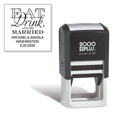 Eat, Drink, Be Married Square Self-Inking Address Stamp
