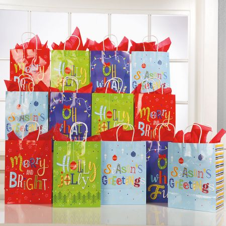 Whimsy Text Christmas Gift Bags