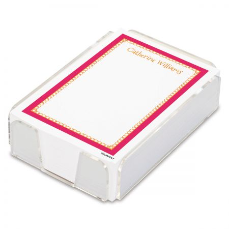 Bright Border Personalized Notes Sheets in a Tray