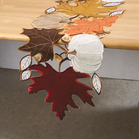 White Pumpkin & Maple Cutwork Table Runner