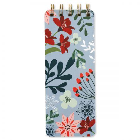 Winter Floral Skinny Spiral Notepads - BOGO