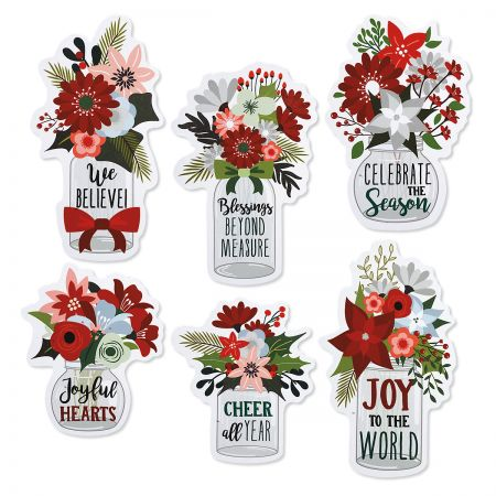 Winter Floral Jar Magnets - BOGO