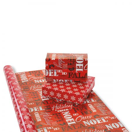 Wood & Plaid Verbiage Double-Sided Jumbo Rolled Gift Wrap
