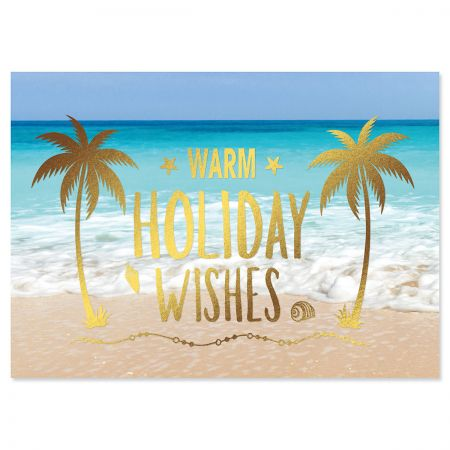 Holiday Palms Deluxe Foil Christmas Cards