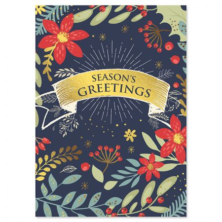 Floral Border Deluxe Foil Christmas Cards