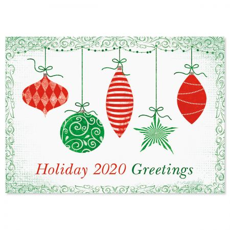 Red & Green Ornaments Christmas Cards