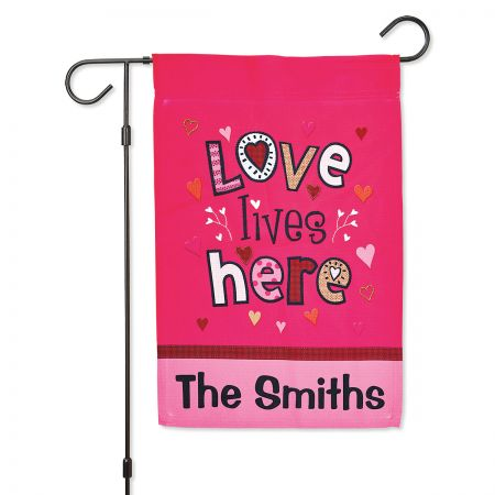 Love Lives Here Personalized Garden Flag