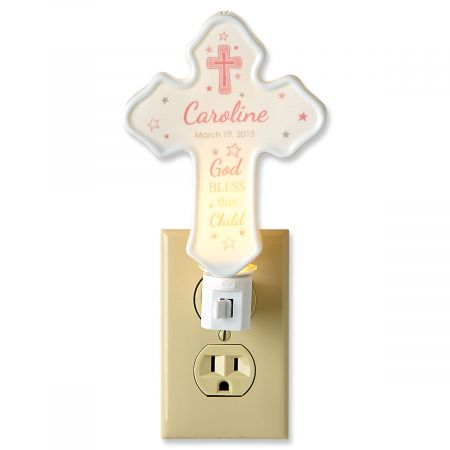 Bless This Child Cross Pink Personalized Nightlight