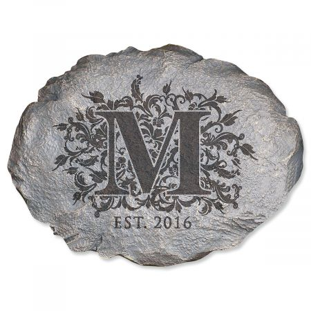 Personalized Floral Initial Garden Stone