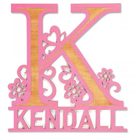 Pink Name & Initial Personalized Plaque