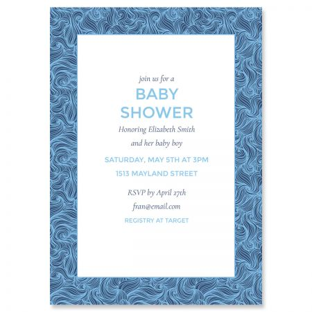 Personalized Blue Wave Frame Shower Invitations