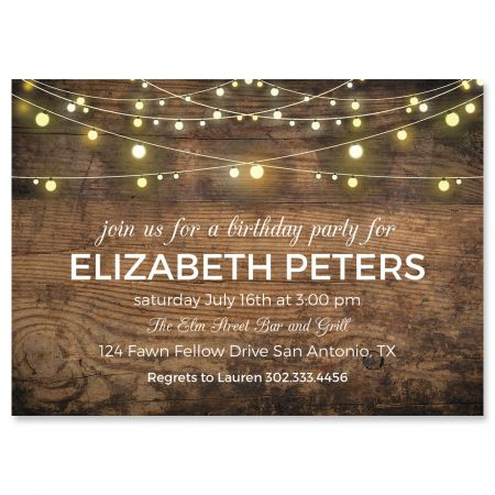 Personalized Rustic Lights Invitations