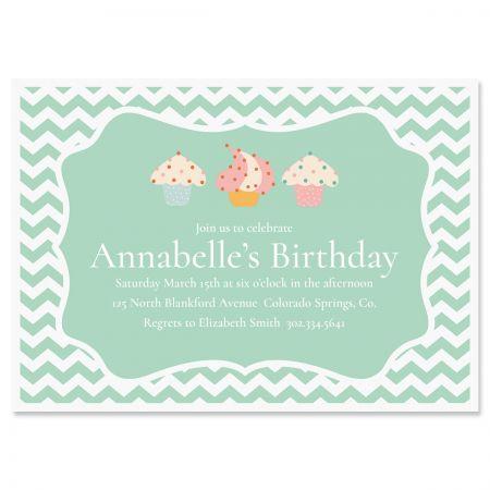 Personalized Cheveron Cupcake Birthday Invitations