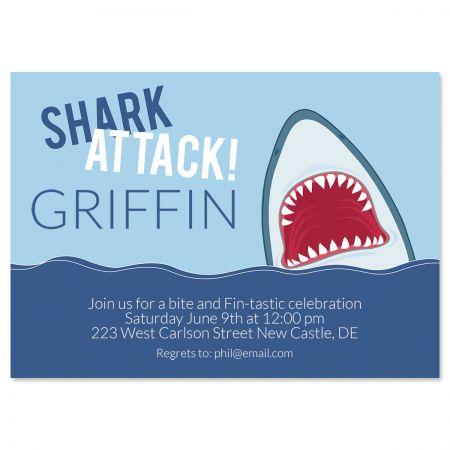 Personalized Shark Attack Birthday Invitations