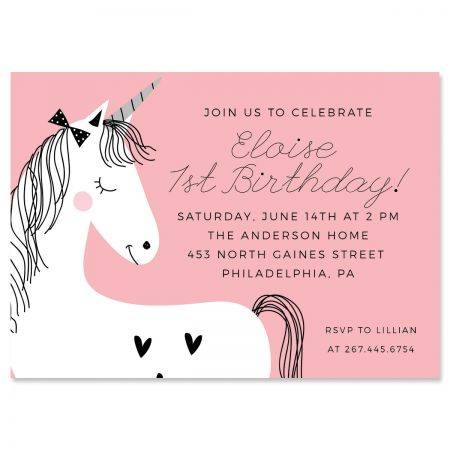 Personalized Simple Unicorn Birthday Invitations