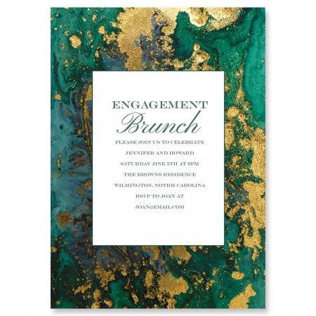 Personalized Emerald & Gold Agate Invitations