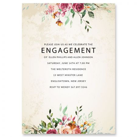 Personalized Fresco Floral Engagement Invitations