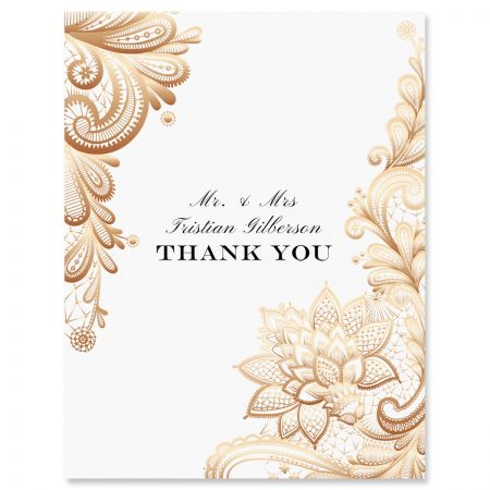 Personalized Gold Lace Thank You Cards