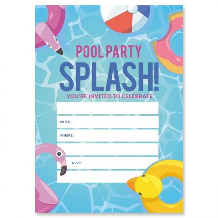 Pool Party Fill In Birthday Invitations