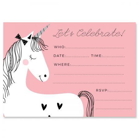 Simple Unicorn Fill In Birthday Invitations