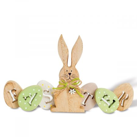 Wooden Easter Eggs with Bunny