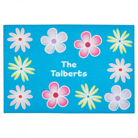 Spring Flowers Personalized Welcome Doormat