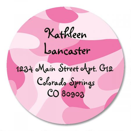 Pink Camo Round Address Labels