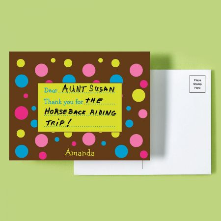 Dots Personalized Thank You Postcards