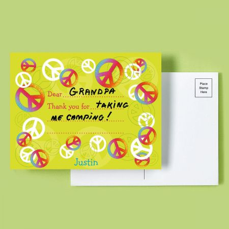 Peace Sign Personalized Thank You Postcards