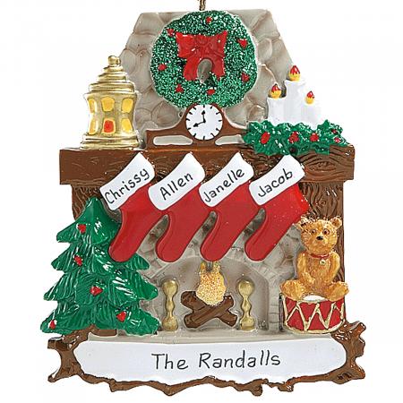 Mantel Stockings & Chimney Ornament Ornaments-4 Names-810...