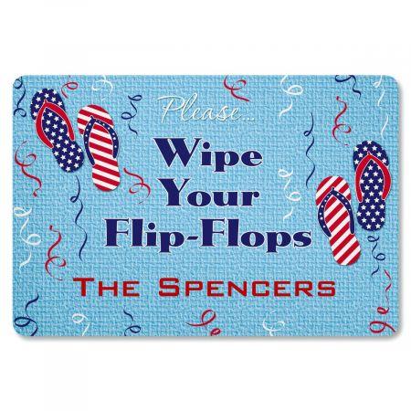 Patriotic Flip Flop Personalized Welcome Doormat