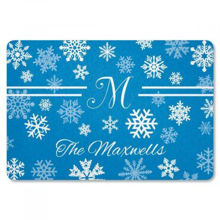 Elegant Snowflake Personalized Welcome Doormat