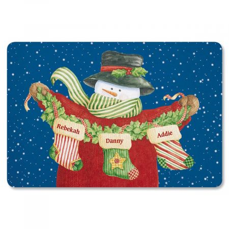 Snowman Stockings Personalized Welcome Doormat